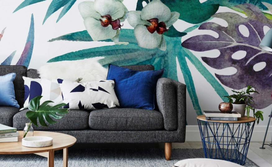 Tropikalne mieszkanie w jasnych kolorach