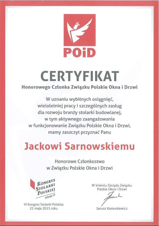 Prezes Zarządu Porta KMI Poland honorowym członkiem Związku Polskie Okna i Drzwi