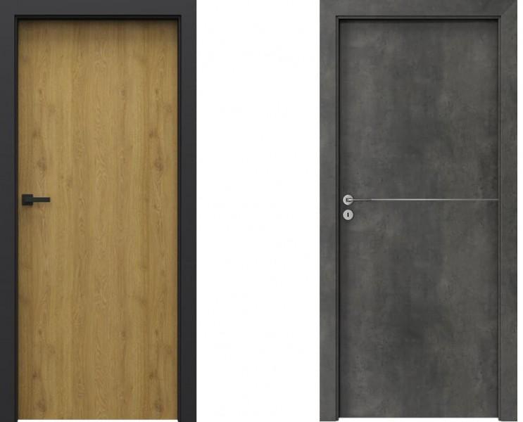 Porta LOFT 1.1 Dąb Naturalny i Porta LINE Beton Ciemny
